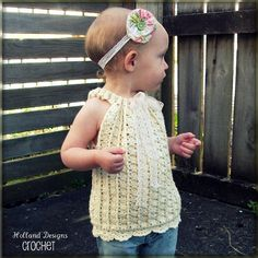 Download Now - CROCHET PATTERN Drawstring Halter Top or Pullover - Sizes 0-12 Years - Pattern PDF via Etsy