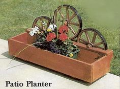 Amish Made Rustic Patio Wheel Planter | Amish Planters | Amish Outdoor Decor 12869