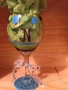 Hand Painted Wine Glass with N Initial by brandiedmonds on Etsy, $20.00