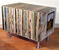Table made from old records. NOW I know what to do with all of them!