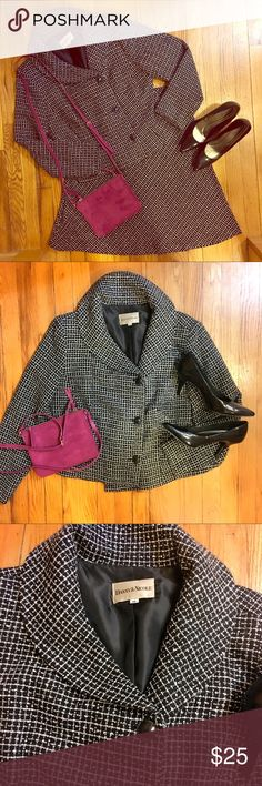 """🆕👱🏾♀️PLUS Danny & Nicole Skirt Suit Blk/Wh- 14 Black/white skirt suit- Danny & Nicole. Size 14. Almost houndstooth pattern but not quite- close enough tho. Houndstooth is 1 of my fave prints- sophisticated and classy. Skirt has side zipper (📸 7) but also an elastic waist. Laying flat without stretch 18"""". Blazer has wide sleeves w/ 3 button closure- top button is hanging a little loose, needs a quick stitch. (Price adjusted for that inconvenience. Sorry I don't know how to sew!) Fully…"""