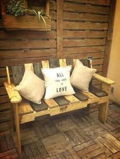 Pallet Ideas : Want to renovate your home with wooden pallet furniture? We're the right place for you. Just Click & get to know lots of pallet ideas. Pallet Bench, Wooden Pallet Furniture, Diy Furniture Projects, Wooden Pallets, Outdoor Furniture, Pallet Wood, 1001 Pallets, Cheap Furniture, Furniture Plans