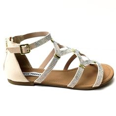 Steve Madden Blush Embellished Gladiators- New You will look ultra  chic in these Steve Madden gladiator sandals. With iridescent rhinestone embellishments, these flat sandals will take your look to a fabulous and glamorous new level! Fabric upper. Back zipper for easy on/off. Ankle strap with adjustable buckle-Metal accents- Synthetic sole. Brand new in box! Steve Madden Shoes Flats & Loafers