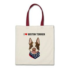 #Boston Terrier (Red / Brown) Illustrated Tote Bag - #boston #terrier #puppy #dog #dogs #pet #pets #cute #bostonterrier