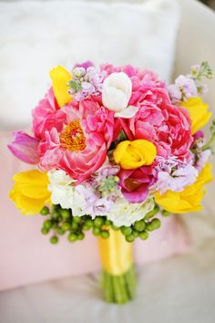 Stock, Peonies, Hydrangea, Tulips, China berries - I just love how bright this bouquet is. :)
