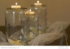 Upside down mason jar tea lights Wedding Centerpieces Mason Jars, Mason Jar Candles, Mason Jar Lamp, Votive Candles, Bridal Ahower Decorations, Reception Table Decorations, Jar Of Hearts, Flowers In Jars, Do It Yourself Wedding