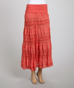 Look what I found on #zulily! Coral Lace Peasant Skirt - Women by Cute Options #zulilyfinds
