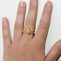 Bio H - 14k Gold Ring , Wedding Ring , Wedding Band , unisex ring. $375.00, via Etsy.