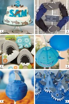 In honor of Shark Week, here are some great ideas for a shark theme birthday party! These would also be great for a pool party or under the sea party. 6th Birthday Parties, Boy Birthday, Shark Birthday Ideas, First Birthdays, Shark Week, Party Ideas, Theme Ideas, Diy Party, Baby Shark