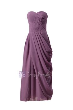 2930ff59ece4 Pale Mute Lilac Strapless Bridesmaid Dress Long Lilac Sweetheart Chiffon  Formal Dress(BM810L)
