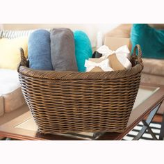 Our Oval Wicker Laundry Basket makes a great wedding gift filled with items from the couple's registry.