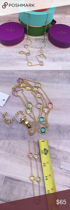 ✈️Kate Spade multi colored stone long necklace Necklace measures 30 +3 inch extender. Can be doubled for a layered look. Comes gift wrapped and with signature brown dust bag. Ready to gift for Mother's Day, birthday or just to say your special! kate spade Jewelry Necklaces