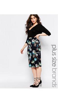 6451938c77c Shop Club L Plus Plunge Midi Dress With Floral Print Skirt at ASOS.