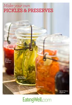 Easy recipes for homemade pickles, strawberry jam and more.