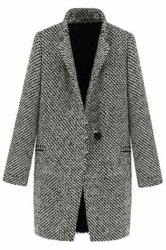 Lapel Pocketed Houndstooth Grey Coat