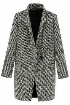 Romwe Pocketed Houndstooth Grey Coat