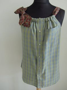 Refashioned Mens Shirt - Boyfriend Tank Top in Blue and Green Plaid with Two Necktie Shoulder Straps - Womens Upcycled Clothing. $48.00, via Etsy.