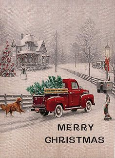 Selmad Decorative Merry Christmas Garden Flag Red Truck Double Sided, Rustic Quote House Yard Flag Xmas Pickup, Winter Holiday Dog Yard Decorations, Home Golden Retriever Seasonal Outdoor Flag 12 x 18 Christmas Garden Flag, Christmas Red Truck, Christmas Scenes, Country Christmas, Christmas Art, Vintage Christmas Images, Christmas Pictures, Cute Christmas Wallpaper, Dog Yard