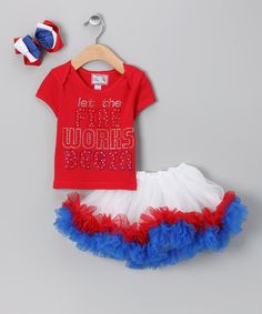 Take a look at this Red Let the Fireworks Begin Tutu Set - Infant, Toddler & Girls by Born 4 Couture on #zulily today!
