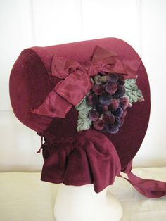Civil War/Victorian Bonnet. 1850's Dickens. Wine Velvet entirely hand sewn. Re-enactment quality. OMG I'm in love!