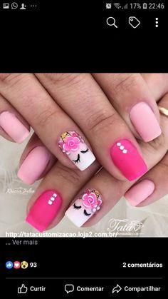 Unicorn Nails Designs, Unicorn Nail Art, Cute Unicorn, Nail Art For Kids, Cool Nail Art, Glitter Accent Nails, Unicorn Tattoos, Nail Art Pictures, Diy Nail Designs