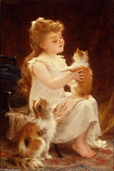Playing with the Kitten by Emile Munier (1840-1895, France)