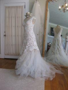 Vestido de boda de sirena tul antiguo encaje por hippiebride