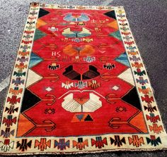Old Iranian Qashquai tribal rug with a bespoke design and colours. Bespoke Design, Tribal Rug, Iranian, Bohemian Rug, Colours, Rugs, Stuff To Buy, Home Decor, Custom Design