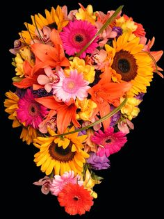 fall cascade wedding bouquets | Colorful cascade teardrop wedding bridal bouquet with sunflowers and ...