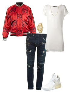 """Untitled #229"" by ms-ashmarie on Polyvore featuring Gucci, Balmain, Cedric Jacquemyn, adidas, Versace, David Yurman, men's fashion and menswear"