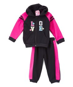 Loving this Black & Pink 'Love' Hoodie & Joggers - Infant, Toddler & Girls on #zulily! #zulilyfinds
