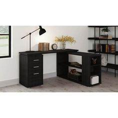 Latitude Run Venango L-Shape Writing Desk Finish: Black Palm Open Office, Office Desk, Cheap Furniture, Furniture Deals, L Shaped Executive Desk, Diy Computer Desk, Desk And Chair Set, Desk Set, Ikea Desk