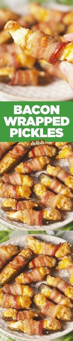 12 slices Bacon. 1 clove Garlic. 12 Dill pickles, mini. 1 1/2 cup Cheddar. 1 block Cream cheese.