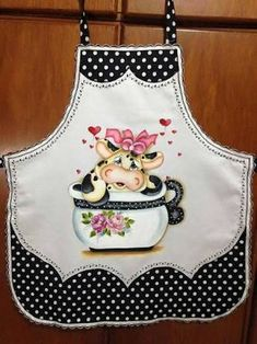Ignore the cow and everything. Look at the pretty detailing and edges! Tole Painting, Fabric Painting, Crochet Projects, Sewing Projects, Childrens Aprons, Cool Aprons, Sewing Aprons, Aprons Vintage, Love Sewing
