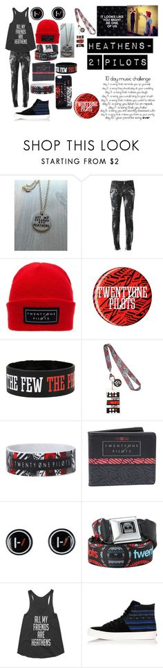 """""""Day 6: Song I play on repeat"""" by dino-satan666 ❤ liked on Polyvore featuring Balmain, Hot Topic and Vans"""