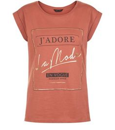 Rust J'adore La Mode Box Roll Sleeve T-Shirt