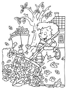 Kleurplaat herfst - blaadjes - opruimen - Kleurplaten.nl School Coloring Pages, Colouring Pages, Coloring Sheets, Coloring Books, Color By Numbers, Reduce Stress, Happy Kids, Autumn, Fall