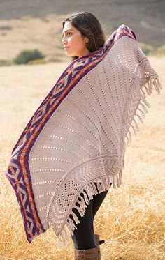 Largo Canyon Shawl Knitting Pattern - #ad Inspired by Navajo blankets, this graphic shawl is worked flat with stranded patterning on the both sides of the band, and the main body of the shawl is worked as a knit-on border. tba southwest native american