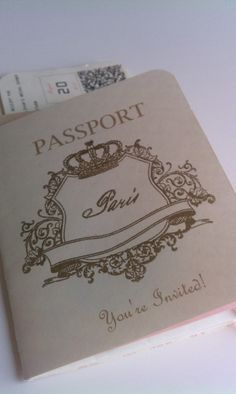 """Passport Invitation - Such a cute idea with the boarding pass as a """"Save the Date"""" :)"""