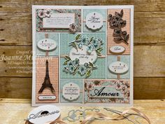 12 x 12 Sampler showcasing the new Parisian Blossoms Suite from my presentation at OnStage 2019 in Hartford, CT. Created by Joanne Mulligan, Independent Stampin' Up! Paris Cards, Wink Of Stella, Foil Paper, Stampinup, Paper Crafts, Diy Crafts, Scrapbooking Layouts, Stampin Up Cards, Parisian