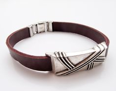 Leather bracelet for man. Stainless steel clasp.$18.65