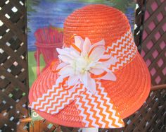 Womans Hat Bright Orange Beach Hat With Chevron by BuffaloDesigns, $15.00