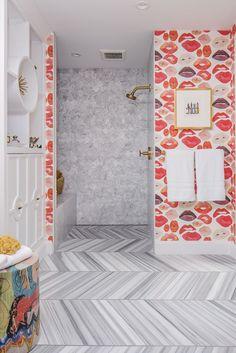 girl's bathroom // marble herringbone flooring // SF Decorator Showcase // Nest Design Co