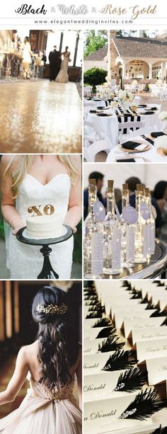 Simple yet Elegant Black and White Wedding Color Palettes with Rose Gold Accents