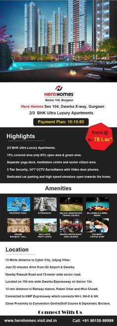 Get 25:75 Payment Plan Benefits on Hero Homes Gurgaon . A 2/3 BHK Residential Apartment in Sector 104 Dwarka Expressway. 5 Tier Security with 35+ Amenities, 85% of Greenery for Healthy Outdoors. 85% Open Green Space. Occupancy Light Sensors. IGBC Gold Certification. Wifi Enabled Homes etc . Call @ 90158-9999 to know more in details #HeroHomes #HeroHomesgurgaon #herohomessector104gurgaon #herohomesdwarkaexpressway #herohomessector104 #herohomesgurgaonsector104 #herohomesgurugram… Luxury Apartments, Luxury Homes, Meditation Center, Luxury Lifestyle, Acre, Greenery, Deck, How To Plan, Outdoor