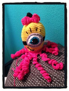 Crochet minion girl octopus./ squid Made for a Project of premature babies.