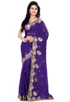 Buy Purple Faux Georgette Saree with Blouse online, work: Embroidered, color: Purple, usage: Party, category: Sarees, fabric: Georgette, price: $37.70, item code: SSX4990, gender: women, brand: Utsav