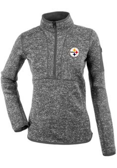 Antigua Pittsburgh Steelers Womens Fortune Grey 1/4 Zip Pullover
