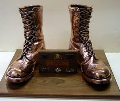 Bronzing Military boots! Keeping the memories www.bronzery.com Military Cap, Military Life, Military Retirement Parties, Bronze Baby Shoes, Airforce Wife, Army Family, Lasting Memories, Cowboy Hats, Ballet Shoes