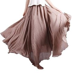 Womens Casual Boho Cotton Linen Loose Swing Maxi Skirt * Want additional info? Click on the image(It is Amazon affiliate link). #WearIT